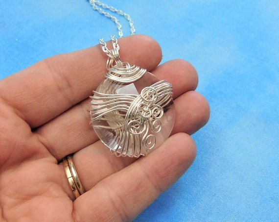 Large Wire Wrapped Faceted Crystal Pendant, Artisan Crafted Wearable Art Necklace, Unique Romantic Gift for Girlfriend, Present for Wife