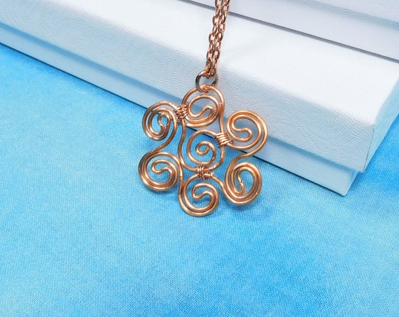One of a Kind Wire Wrapped Flower Pendant, Artistic Necklace Birthday Present for Wife, Mom, Sister, Girlfriend or Best Friend Gift