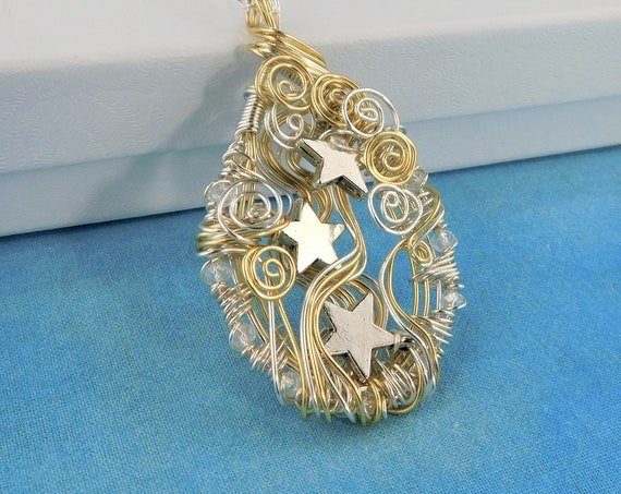 Artistic Silver Star Necklace Celestial Pendant, Unique Artisan Crafted Wire Wrapped Jewelry, Handcrafted Wearable Art Present for Women