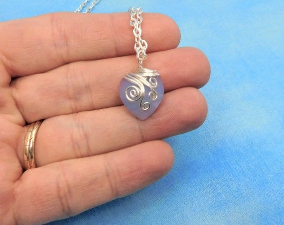 Wire Wrapped Blue Crystal Heart Necklace, Artisan Crafted Pendant Valentine's Day Gift, Artistic Jewelry Present for First Anniversary Gift