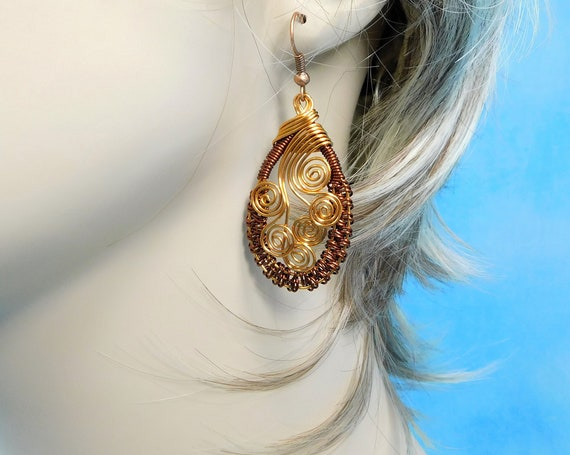 Artistic Woven Copper Earrings for Pierced Ears, Unique Artisan Crafted Wire Wrapped Wearable Art Jewelry 7th Anniversary Present for Wife
