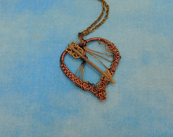 Romantic Heart and Arrow Necklace, Unique Woven Wire Wrapped Handmade Jewelry, Artisan Crafted Wearable Art Pendant Present Ideas for Women