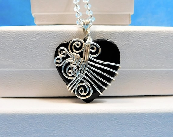 Onyx Necklace Gemstone Pendant Gift for Girlfriend Unique Artisan Crafted Artistic Wire Wrap Handmade White Onyx Stone Heart Shaped Jewelry