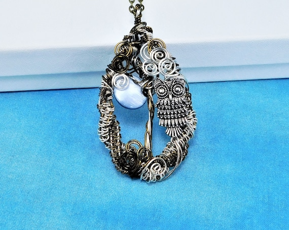 Unique Woven Wire Wrapped Owl Necklace, Artistic Moon and Tree Pendant, Artisan Crafted Wearable Art Jewelry Birthday, Anniversary Present