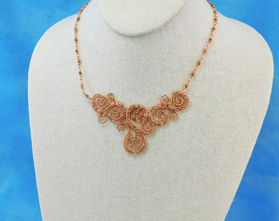 Sculpted and Woven Wire Scroll Work Bib Style Statement Necklace in Bright Copper / Rose Gold, (RESERVED)