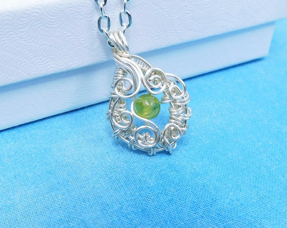 Peridot Pendant August Birthstone Necklace, Artistic Wire Wrapped Wearable Art Gemstone Jewelry