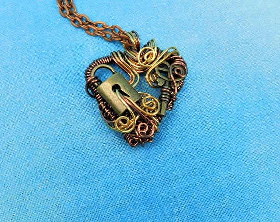 Rustic Skeleton Key Necklace, Handmade Lock and Key Heart Pendant, Unique Artisan Crafted Woven Copper Wire Wrapped Jewelry Present Ideas
