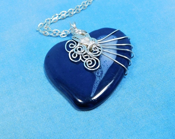 Wire Wrapped Blue Ceramic Heart Necklace, Heart Pendant Anniversary Present for Wife, Artisan Jewelry Gift for Sweetheart or Girlfriend
