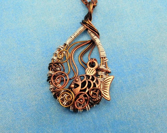 Artistic Swimming Fish Necklace Handcrafted Marine Life Inspired Jewelry, Wire Wrapped Sea Theme Pendant Wearable Art Beach Lover Present