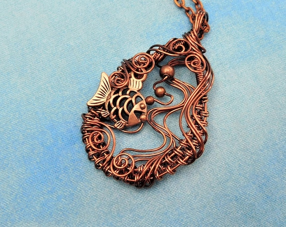 Fish Necklace Beach Jewelry Mother in Law Gift Artisan Crafted Nautical Pendant Hand Woven Wire Artistic Handmade Aquatic Sea Life Present