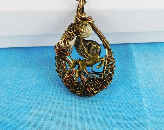 Unique Wire Wrapped Pegasus Pendant, Winged Horse Fantasy Jewelry, Mythology Gift Necklace, One of a Kind Wearable Art, Present Idea for Her