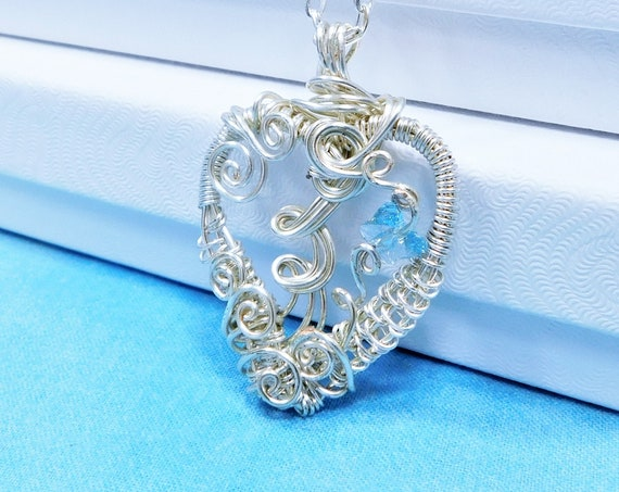 Artisan Crafted Butterfly Necklace, Wire Heart Pendant with Blue Crystal Butterflies, Memorial Jewelry Bereavement Present or Sympathy Gift