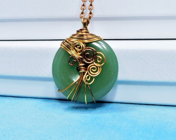 Wire Wrapped Green Aventurine Pendant, Rustic Copper Wrapped Gemstone Jewelry 7th Anniversary Gift for Wife, Handmade Wearable Art Necklace
