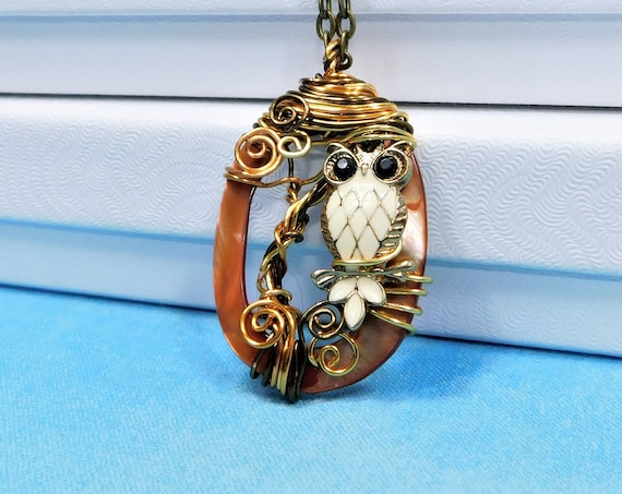 Artisan Crafted Owl Necklace, Unique Copper Wire Wrapped Sculpted Owl and Tree Pendant, Artistic Handmade Wearable Art Jewelry