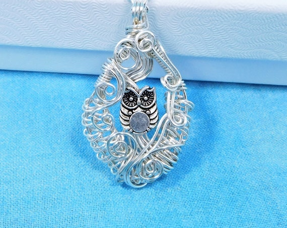 Artisan Crafted Owl Necklace Bird Theme Pendant Gift for Animal Lover, Teacher or Wise Women, Wearable Art Jewelry for Ladies who Love Owls