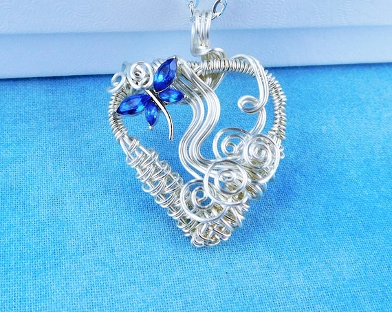 Artisan Crafted Dragonfly Heart Necklace, Unique Woven Wire Wrapped Wearable Art Pendant One of a Kind Artistic Handmade Jewelry for Women