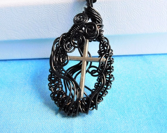 Black Christian Cross Pendant, Inspirational Cross Necklace for Women, Spiritual Theme Religious Jewelry, Artisan Crafted Wearable Wire Art