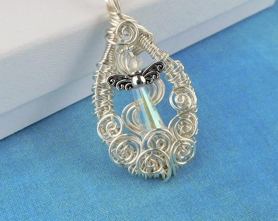 Unique Wire Wrapped Angel Necklace, Artisan Crafted Mother Memorial Pendant, Bereavement Gift Jewelry for Sympathy Present for Women