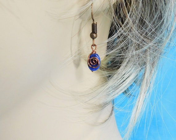 Lapis Lazuli Earrings Blue Gemstone Oval Dangles, Handmade Copper Wire Wrapped Wearable Art Jewelry, Mother's Day Gift for Wife or Mom