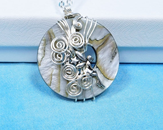 Unique Wire Wrapped Mother of Pearl Fairy Necklace, Artisan Crafted Silver Fairy Jewelry, Artistic Handmade Wearable Art Fantasy Pendant