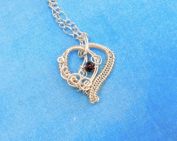 Wire Wrapped Garnet Pendant, Artisan Crafted Gemstone Heart January Birthstone Necklace, Unique Wearable Art Jewelry Birthday Present Ideas