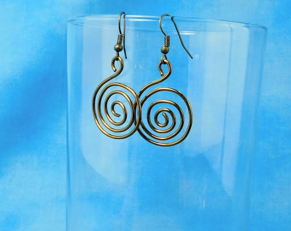 Rustic Copper Spiral Pierced Earrings, Unique Wire Wrapped Swirl Loop Dangles, Handcrafted Artistic Jewelry Birthday Present Idea for Women