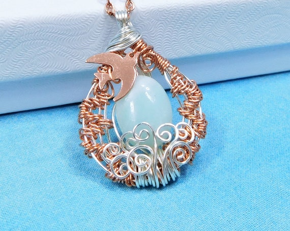 Wire Wrap Aquamarine Pendant, March Birthstone Necklace, Copper and Gemstone Bird Theme March Birthday Present or Anniversary Gift for Mom