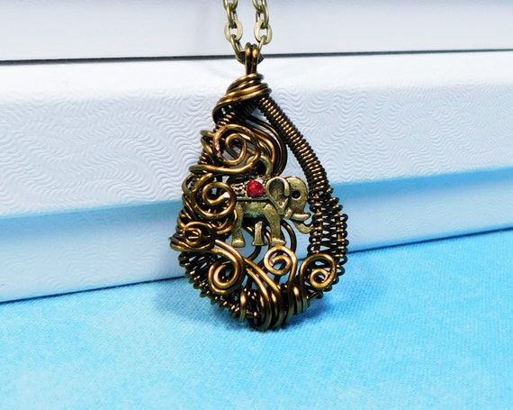 Artistic Copper Wire Wrapped Elephant Necklace, Unique Artisan Handmade Jewelry, Zoo Animal Theme Pendant Birthday or Anniversary Present