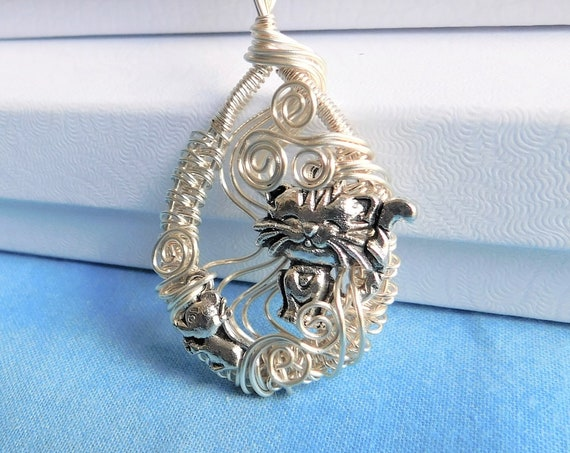 Cat Lover Necklace, Unique Wire Wrap Pendant, Artisan Crafted Kitty Jewelry, Kitten and Mouse, Whimsical Wearable Art, One of a Kind Present
