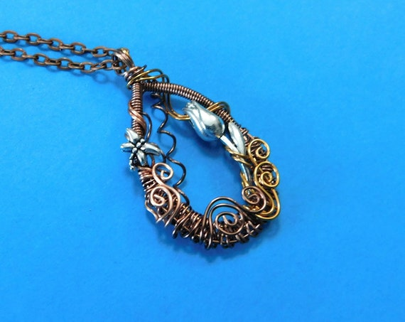 Unique Artistic Dragonfly Necklace, Woven Wire Wrapped Pendant, Artisan Crafted Handmade Wearable Art Jewelry Mother's Day Present for Women