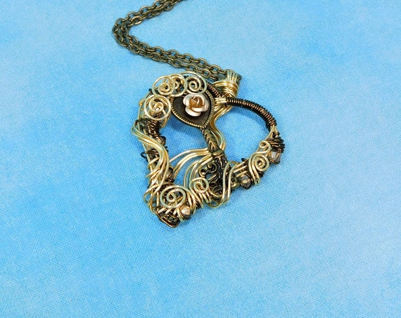 Copper Wire Wrapped Skeleton Key Necklace, Rustic Lock and Key Heart Pendant, Unique Artisan Crafted Woven Wire Jewelry Gift for Wife
