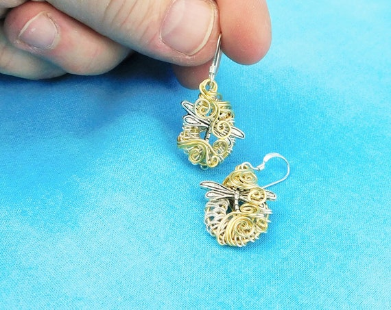 Artistic Dragonfly Earrings, Artisan Crafted Unique Woven Wire Wrapped Dangles, Handcrafted Wearable Art Jewelry Present Ideas for Women