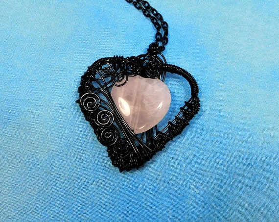 Rose Quartz Heart Necklace, Pink Gemstone Pendant Black Wire Wrapped Stone Jewelry, Romantic Wearable Art Present for 5th Anniversary Gift