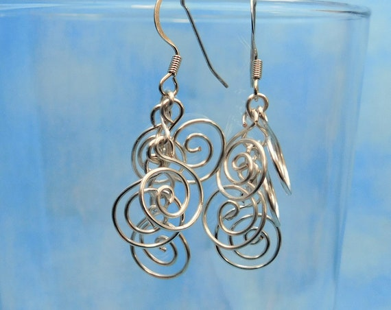 Mother in Law Gift Swirl Dangle Earrings Unique Wire Wrapped Wearable Art Jewelry Artisan Crafted Artistic Handmade Present Ideas for Women