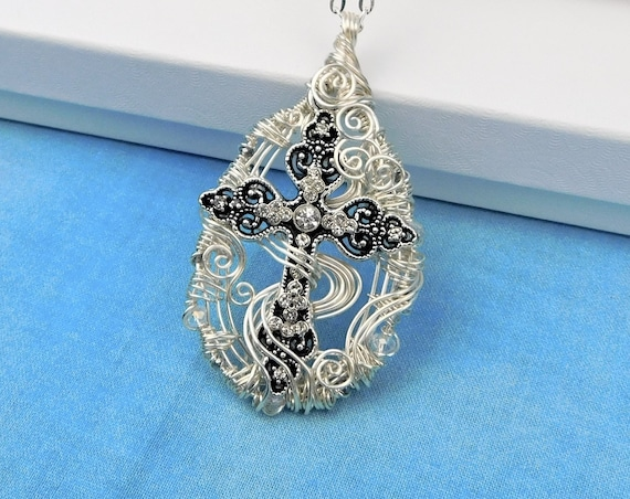 Christian Cross Pendant, Inspirational Womens Gift Necklace,  Religious Jewelry, Unique Wire Wrapped Artisan Crafted Spiritual Theme Present