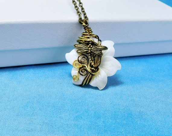 Artistic Dragonfly Necklace, Mother of Pearl Flower Pendant, Artisan Crafted Wearable Art Jewelry Memorial, Sympathy or Bereavement Gift
