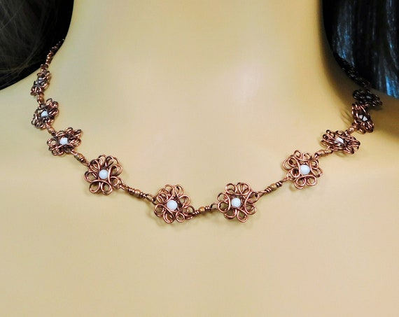 Copper Flower Statement Necklace, Artisan Crafted Sculpted Wire Jewelry, Artistic Birthday Present or 7th Anniversary Gift for Wife or Mom