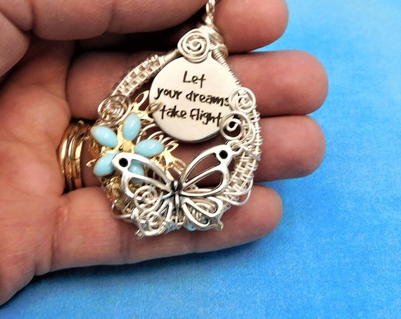 Woven Wire Wrap Silver Butterfly Necklace, Let Your Dreams Take Flight Pendant, Artistic Jewelry Present for Women, Unique Graduation Gift