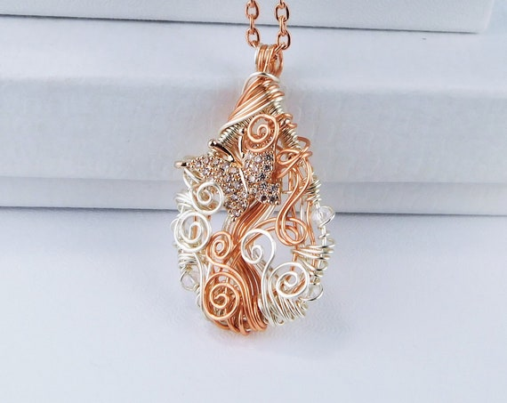 Cubic Zirconia and Rose Gold Copper Wire Wrapped Butterfly Pendant, Artistic Woven Natural Copper Necklace, Unique Wearable Art Jewelry