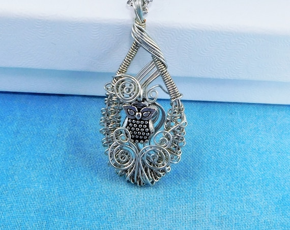 Artisan Crafted Owl Necklace, Artistic Woven Wire Wrapped Pendant, Unique Handmade Wearable Art Jewelry Mother's Day Present Ideas for Women