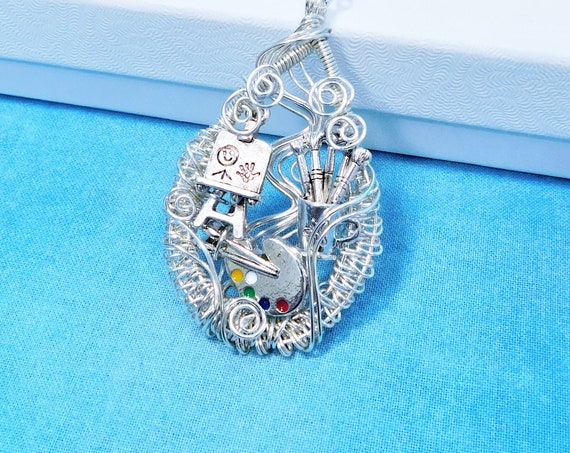 Artist Theme Necklace, Artistic Painter Pendant, Wearable Art  Jewelry Present Ideas for Women who Paint or Art Teacher