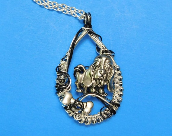 Dog Lover Necklace Pet Theme Jewelry, Artistic Basset Hound Pendant, Puppy with Bone Canine Theme Jewelry