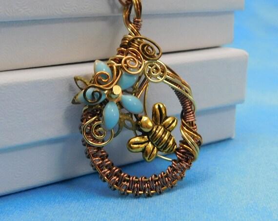Bee Necklace Honeybee Pendant, Artisan Crafted Wearable Art Bumblebee Beekeeper Jewelry, Artistic Birthday or Christmas Present for Women