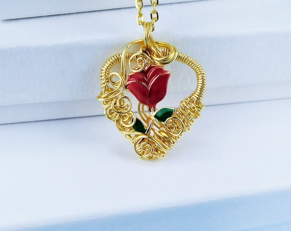 Artisan Crafted Gold Red Rose Necklace, Unique Woven Wire Wrapped Heart Pendant, Artistic Handmade Romantic Valentine's Day Present Ideas