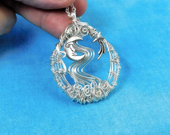 Artistic Moon and Star Necklace Celestial Theme Pendant for Women, Lunar Jewelry Birthday Gift for Girlfriend, Wife, Daughter or Mom
