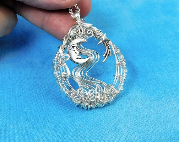 Artistic Moon and Star Necklace Celestial Theme Pendant for Women, Lunar Jewelry Birthday Gift Idea for Girlfriend, Wife, Daughter or Mom