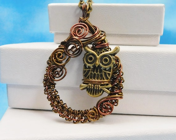 Owl Necklace, Unique Wire Wrapped Artistic Jewelry, Handmade Christmas Present Idea for Wife, Girlfriend, Mom, Sister, Friend, Mother in Law