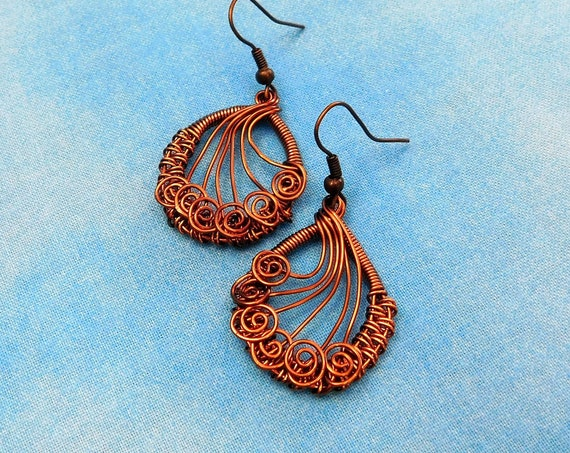 Copper Wire Wrapped Earrings, Artisan Crafted Woven Wire Jewelry, Rustic Boho Artistic Handmade Dangles, Christmas Present Ideas for Wife