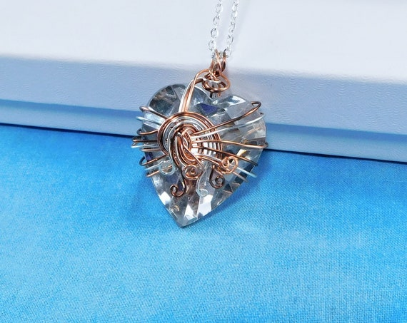 Unique Wire Wrapped Heart Pendant, Artistic Handmade Artisan Crafted Wearable Art Jewelry, Women's Romantic Valentine Necklace Present Ideas