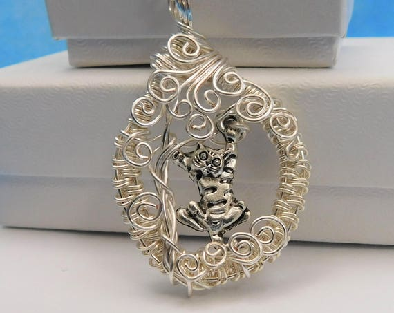 Cat Necklace Gift for Her Kitty Pendant Pet Jewelry Artisan Crafted Artistic Handmade Unique Wire Wrap Kitten in Tree Humorous Theme Present